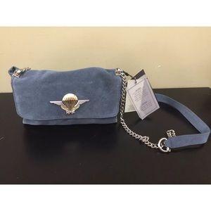 Zara Suede Light Blue Shoulder Crossover Bag